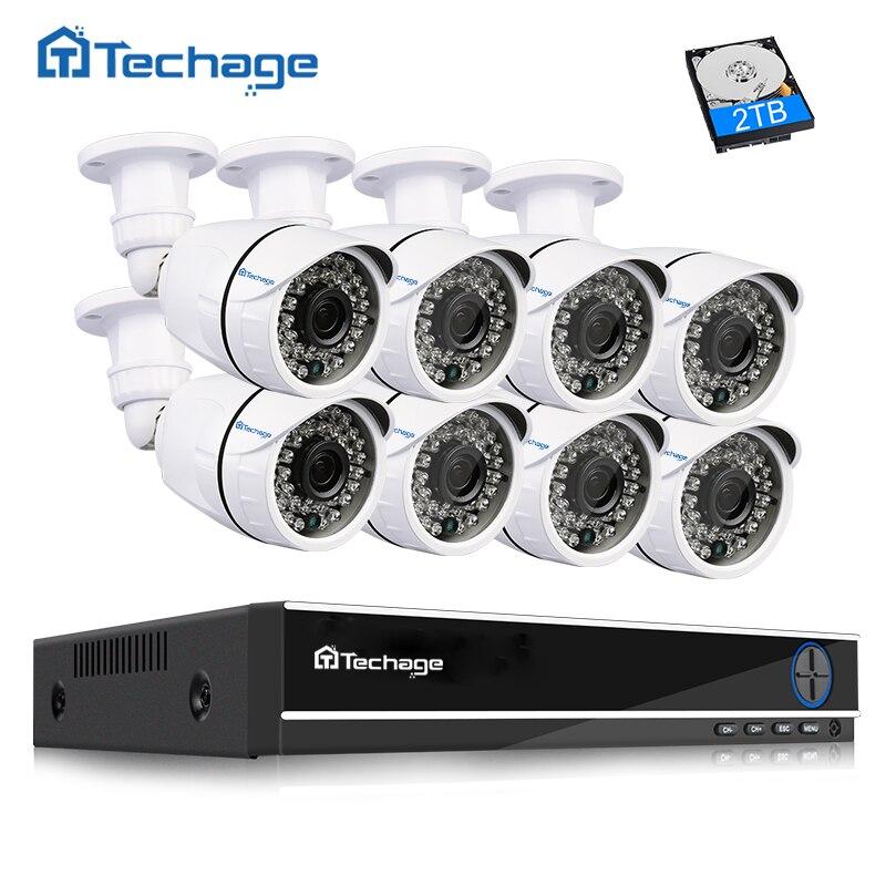 Techage 8CH 1080 p HDMI CCTV Système AHD DVR 8 pcs 2.0MP 1080 p HD IR Extérieure Caméra de Sécurité P2P vidéo Surveillance Kit 2 tb HDD