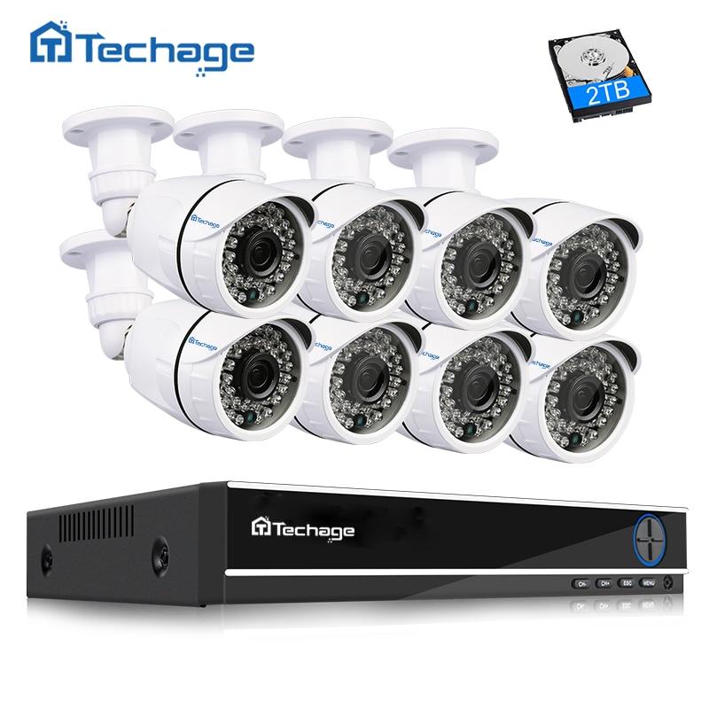 Techage 8CH 1080P HDMI AHD DVR CCTV Системы 8 шт 2.0MP 1080P HD ИК Открытый безопасности Камера P2P комплект видеонаблюдения 2 ТБ HDD