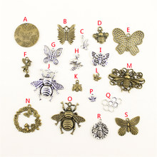 1 Piece Charms Bee Tibetan Silver Plated Pendants Antique Jewelry Making DIY Handmade Craft HK029(China)