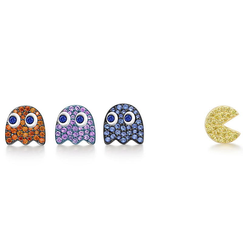 Singe Mini Cute Stud Earrings for Pac-Man Zircon Colors Earrings Unique Creative Cartoon Female Jewelry Donna Orecchini creative 3d animal earrings cartoon cat kitten lovely ear stud earrings jewelry