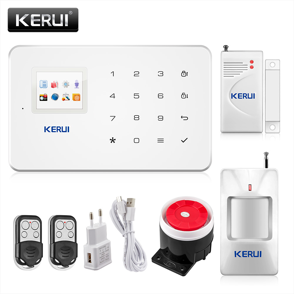 KERUI G18 GSM Security System Alarm Home Burglar Alarm Wireless Magnetic Window Sensor+Motion Detector Android/iOS App control wireless motion door sensor detector 2 remote control home security burglar alarm system more stable than gsm alarm system
