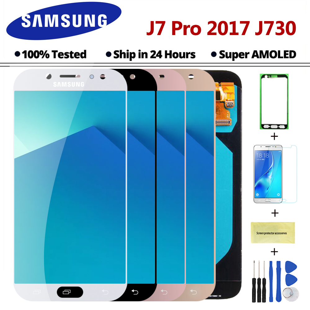 Super AMOLED LCD Pour Samsung Galaxy J7 Pro 2017 J730 J730F LCD Affichage Digitizer Écran Tactile Assemblée Complet Pièces De Rechange