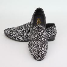 Harpelunde Glitter Men Shoes Silver Printed Slip On Wedding Shoes Size 8-13