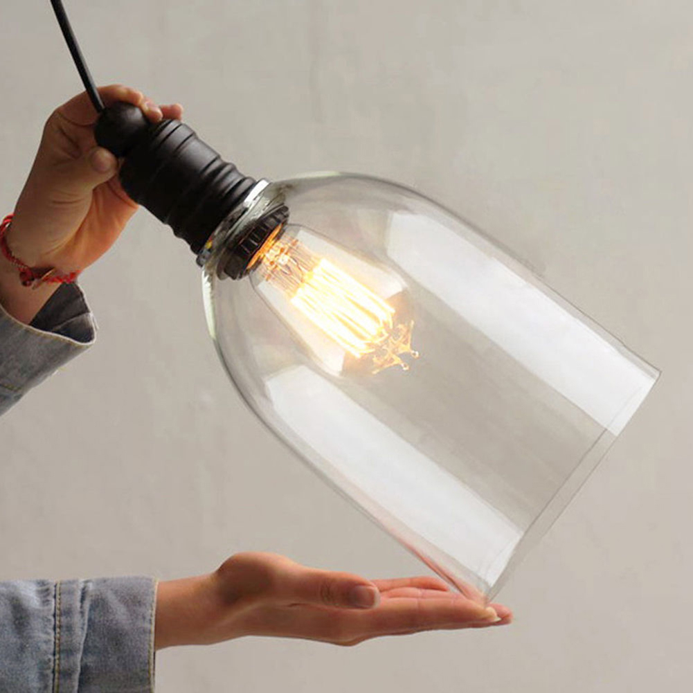 Modern Clear bell glass pendant lights lamps Hanging wine bottle with Edison bulb for Kitchen Dining room Light fixtures free shipping 3 lights dining room glass pendant light tready wine cup crystal pendant lamp led lamps bar kitchen glass light