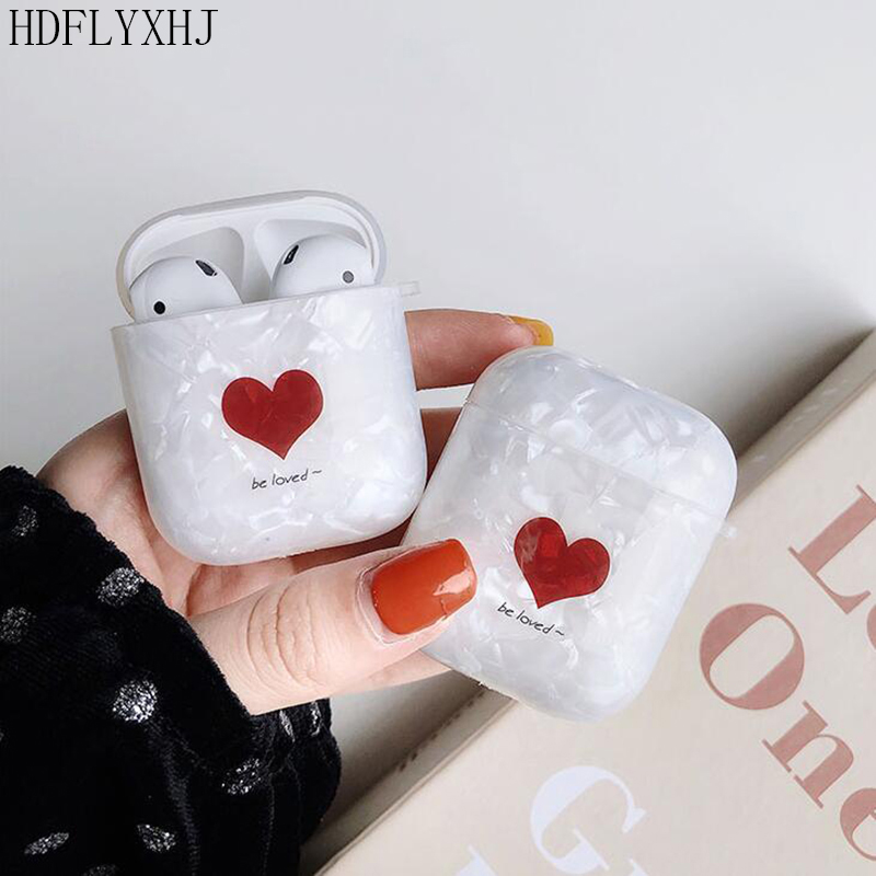 HDFLYXHJ Wireless Bluetooth Headset Cover For Apple Airpods Cute Red Love Heart Earphone Bag Conch Pattern