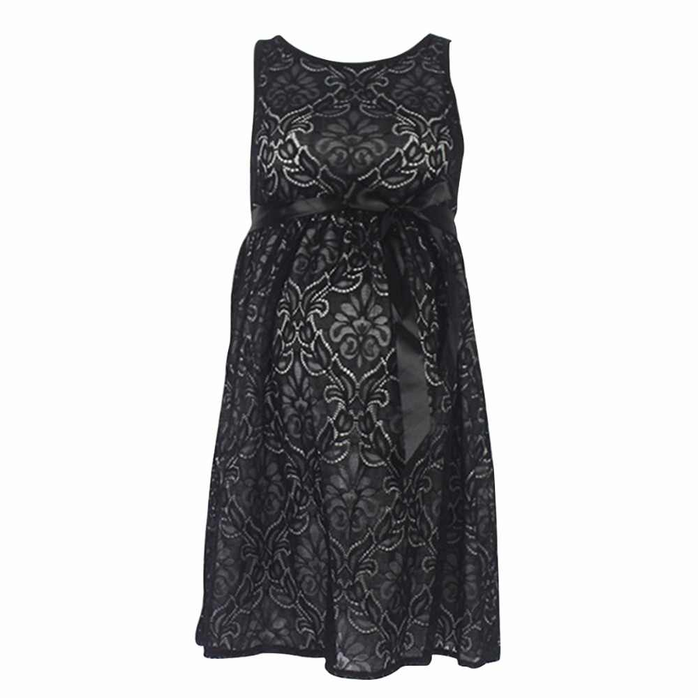 c9f2ea452f1e9 Puseky Lace Pregnant Short Dress Women Casual Sleeveless O Neck Hollow Out  Evening Party Long Maxi Maternal pregnancy dresses