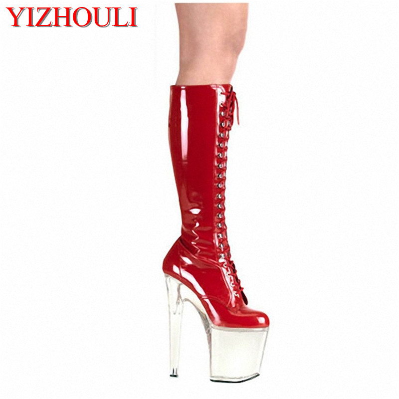 8 inch Heel High boots fashion PU leather Boots Ladies woman