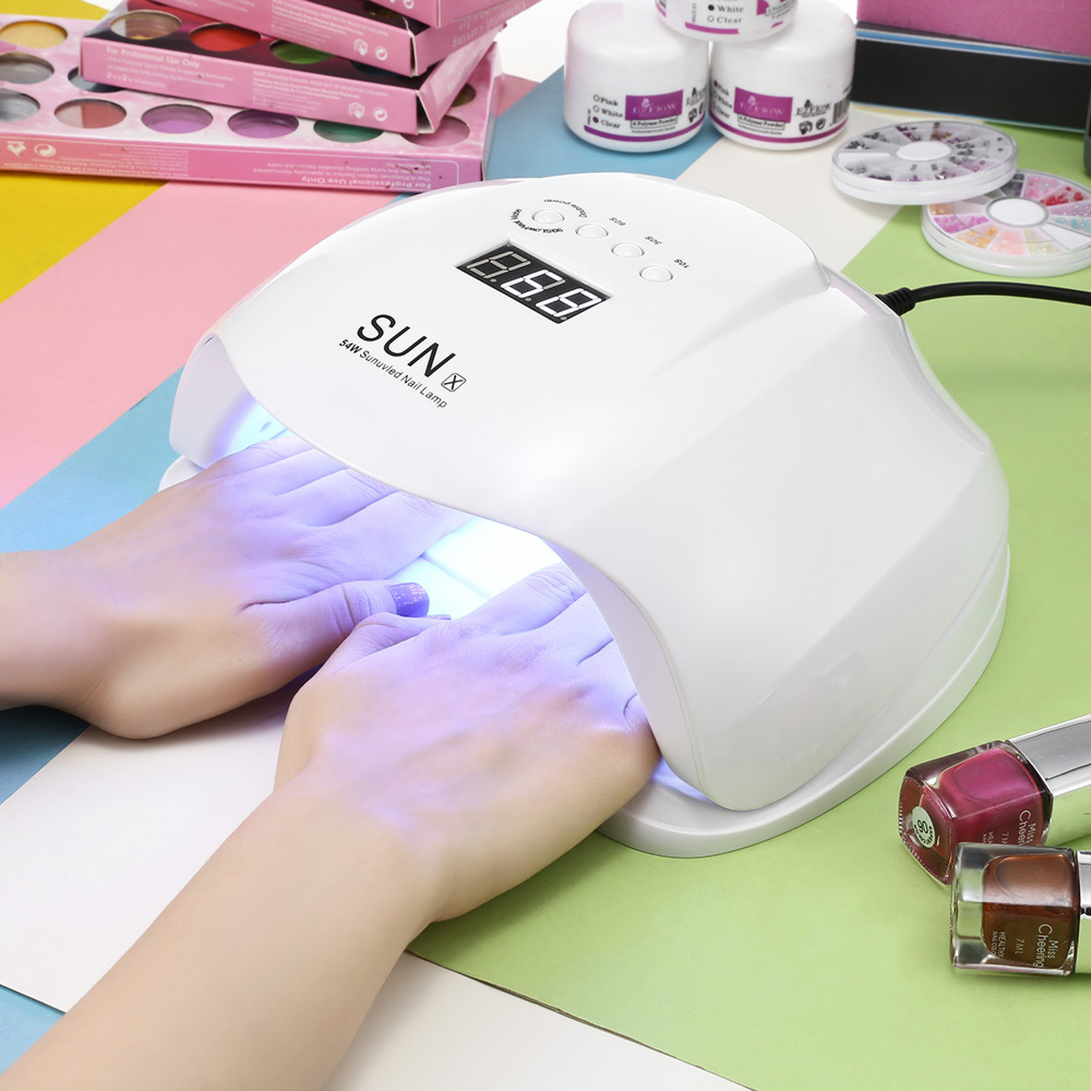 SUN X 48/54W Nail Dryer UV LED Lamp LCD Display 36 LEDs Nail Dryer Lamp For Curing Gel Polish Auto Sensing Nail Manicure Tools gustala 50w uv led lamp automatic smart nail dryer for nail equipment lcd display manicure tool for curing gel polish 100 240v