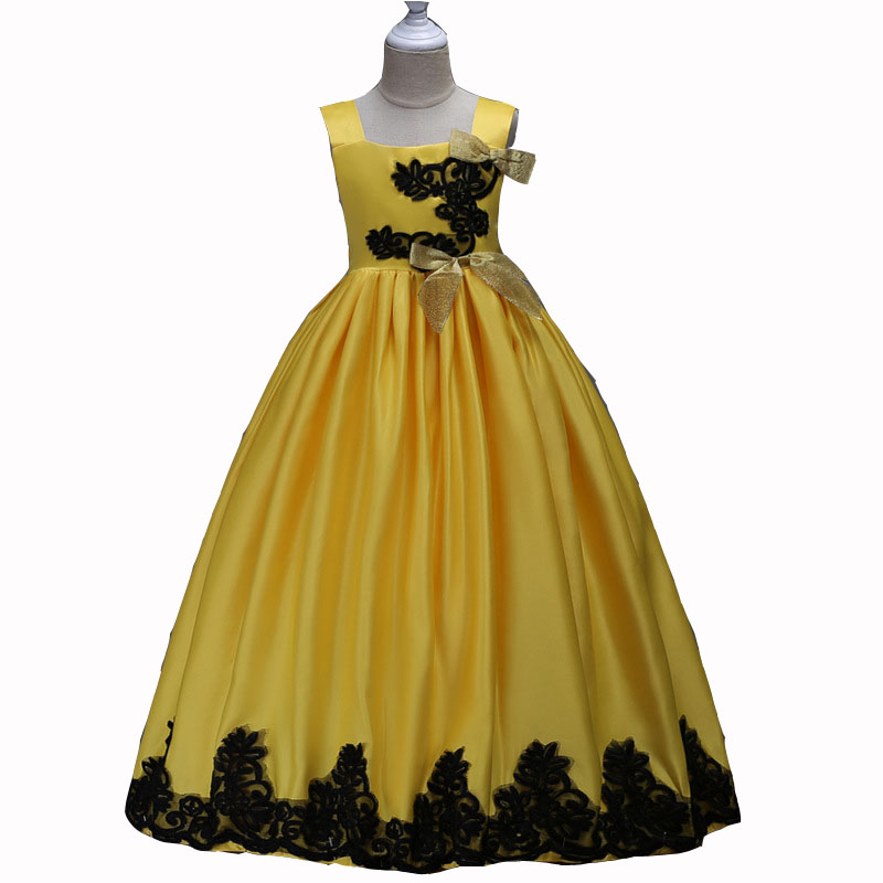 2017 New princess Dresses Floor Length Satin Ball Gown Yellow Scoop Infant Girl Pageant Christmas Dresses 3 6 8 10 12 14 years 4pcs new for ball uff bes m18mg noc80b s04g