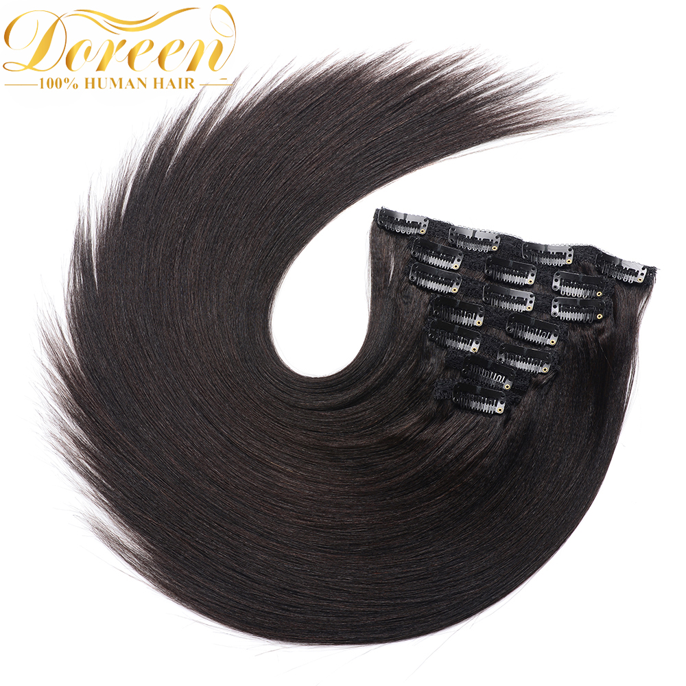 Doreen Hair Yaki Clip In Full Head 160g 200g Machine Made Remy Real Natural Human Hair Kinky Straight Clip In Extensions