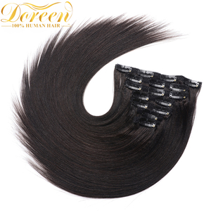 Doreen Hair Yaki Clip in Full Head 200g Machine Made Remy Light Yaki Real Natural Human Hair Clip in Extensions(China)