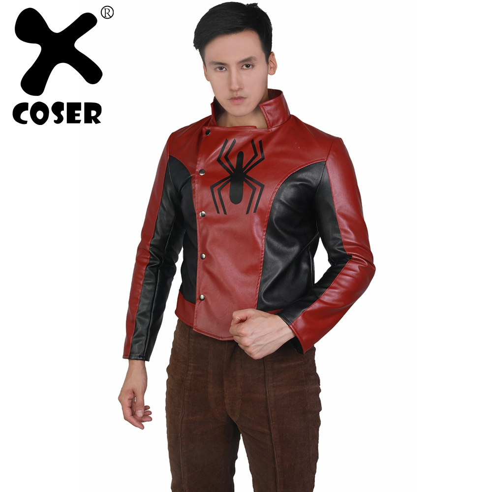 XCOSER Marvel Spider-Man Game Cosplay Red PU Jacket Cosplay Anime Fantasia adulto Jacket For Men