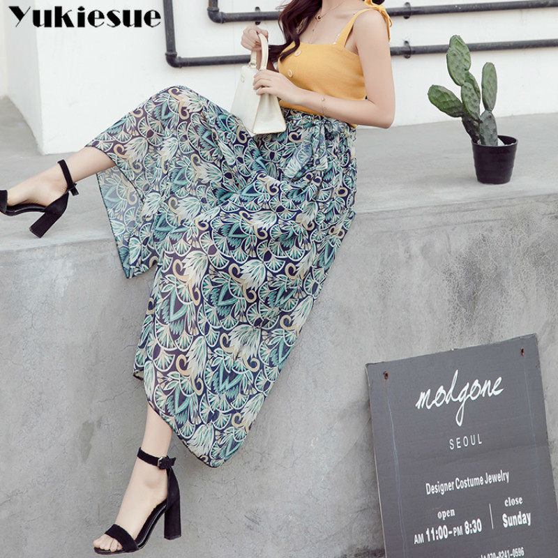 streetwear floral women's   pants     capris   with high waist chiffon wide leg   pants   for women trousers woman   pants   female Plus size