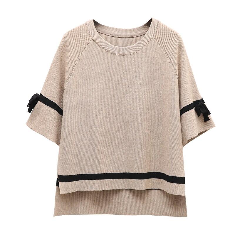 Half Sleeve Bow Design O neck split knitted sweater Women brand black pullovers knitwear 2018 Spring white jumper pull femme