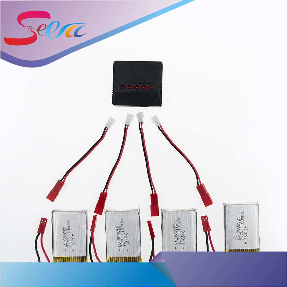 4pcs 3.7V 1100mAh Li-po Battery With Charger For JJRC H11WH H11 H11C Axis Remote Control Aircraft Accessories H11D H11-013 four axis aircraft lithium battery accessories for udi u842 u842 1 u818s helicopter 3pcs battery and 6 in 1 charger