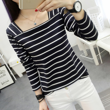 2016 Korean Style Autumn New Arrive Women Fashion tops Shirts Slim Long Sleeve Striped Tshirts Tops Bottoming t-shirt Plus Size