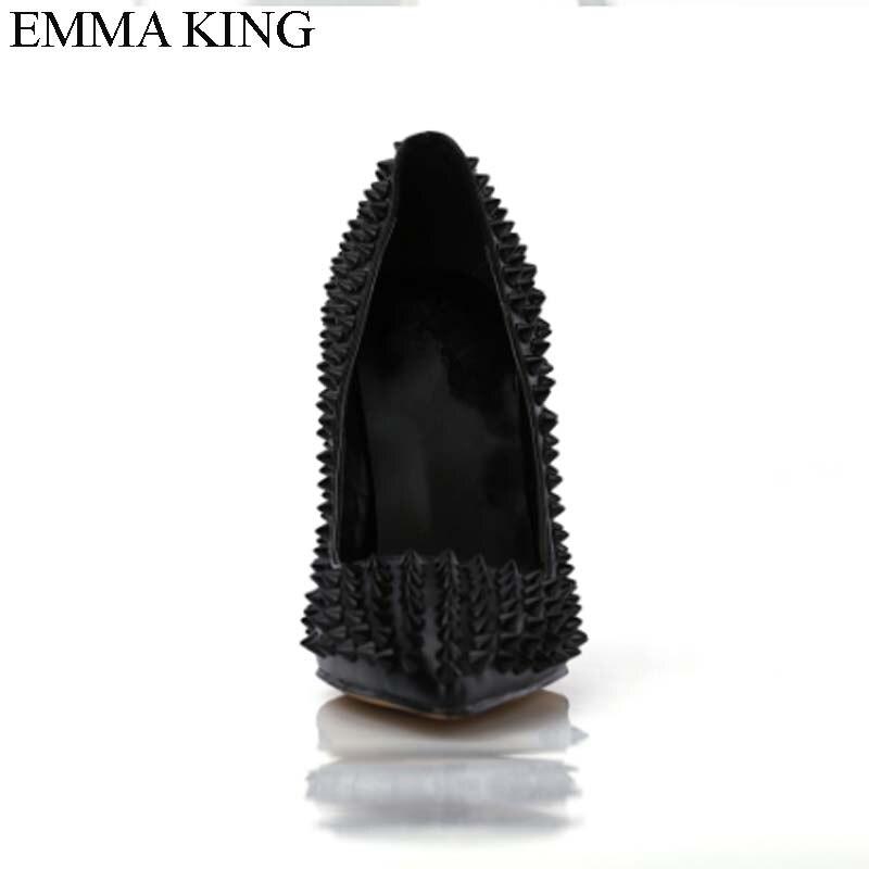 Roi Partie Peu Bout Profonde Parti Goujons Picture Pointu Talons Spike 2018 As Dame Emma Femmes Pompes Chaussures Mince Rivets Haute Sexy Troupeau De Mode AnqdR4I