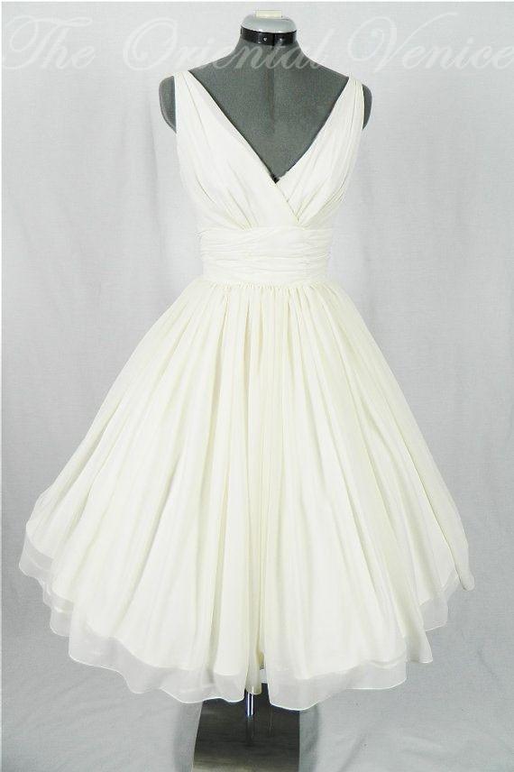 Vintage 1950 39 s tea length short wedding dress sexy v neck for 50 s pin up wedding dresses