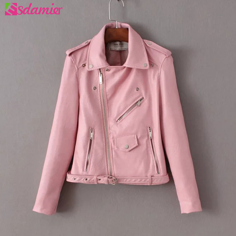 S-XL Slim PU Leather   Jacket   Women Motorcycle Zipper Bright Colors Ladies   Basic     Jackets   Women's Short Washed Faux Leather Coat