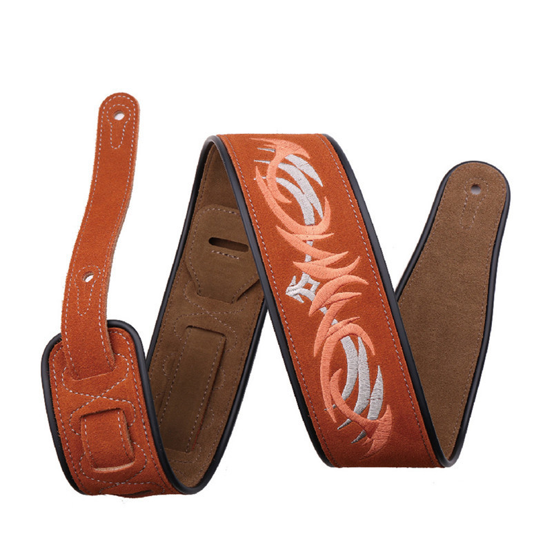 Advanced Suede Guitar Strap Embroidered Straps Guitar Straps Musical Part Applicable Electric Folk Guitar Electric Bass bass part musical instruments useful leather accordion shoulder straps adjustable length 32 43 for 16 120 bass accordion straps