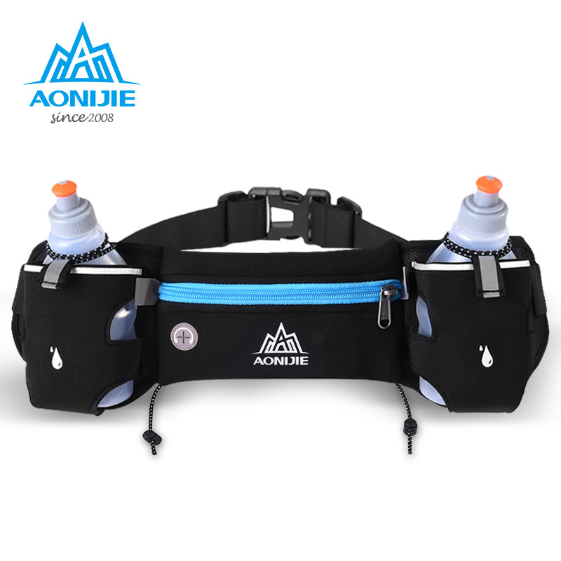 AONIJIE Unisex Adjustable Running Marathon Cycling Waist Pack Belt Bum Bag Storage Pockets with optional 250ml Water bottle E834