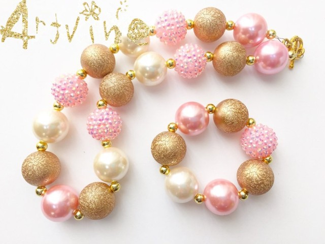 Wholesale Gold U0026 Light Pink Rose Baby Girls Bubblegum Necklace, Pink Gold  Toddler Necklace, Gallery