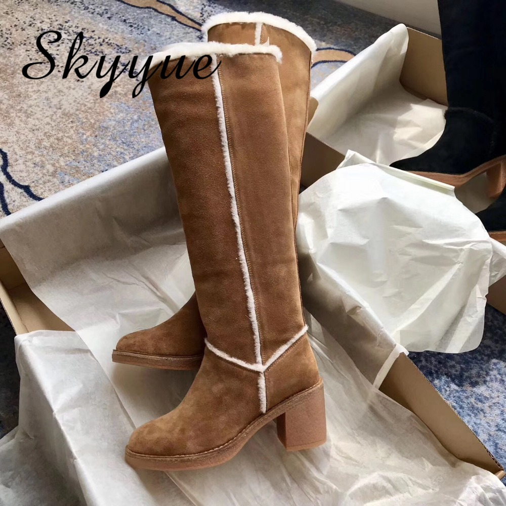 SKYYUE New Genuine Leather Khaki Slip On Women Winter Warm Boots Round Toe Suede Leather Women Long Boots Shoes Women round toe suede slip on plimsolls