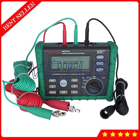 MS2302 Tierra Digital Ground Resistance Tester con Pantalla LCD del Medidor de Aislamiento Megger
