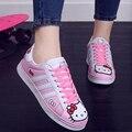 2017 de Otoño de Las Mujeres Adolescentes Moda Casual Doraemon Hello Kitty Gatito Cordón de Dibujos Animados de Corea Alumnas Pisos Zapatos Tableros G193