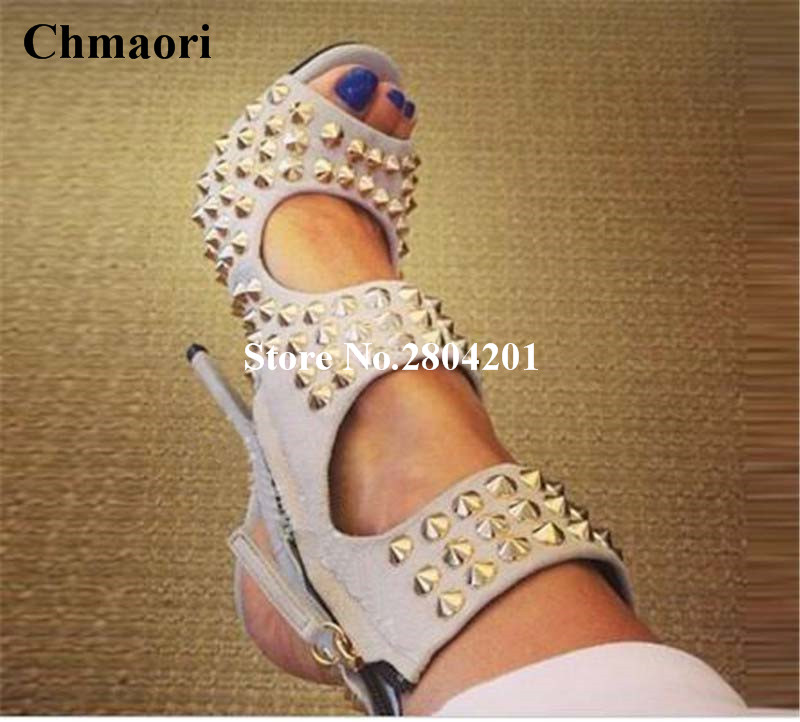 2018 New Arrival Rivets Sandals Peep Toe High Heels Women Sandals Zipper Rivets Slingback Women Shoes Ankle Strap Party Shoes trendy women s sandals with rivets and velcro design