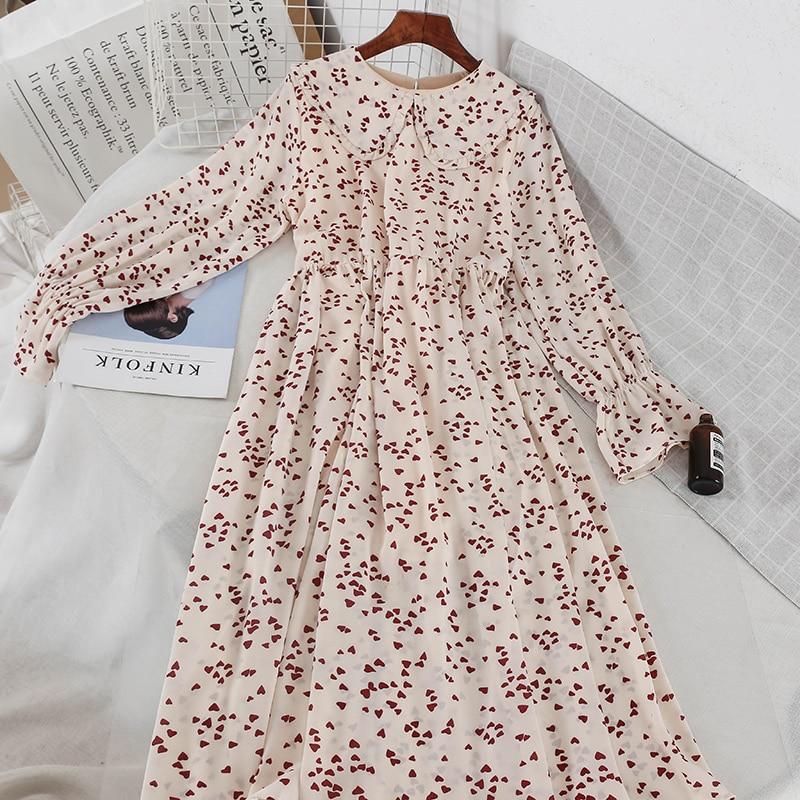2019 spring vintage print ruffled peter pan collar long sleeve dress mori girl 2