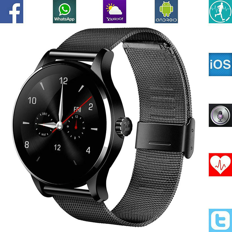 Hot sale! Round Smart Watch Heart Rate Monitor Wristwatch with Remote Camera Clock Bluetooth Android IOS Phone for  s4 s7  6s f2 smart watch heart rate monitor touch screen bluetooth watch compatible with ios android mobile phone partner