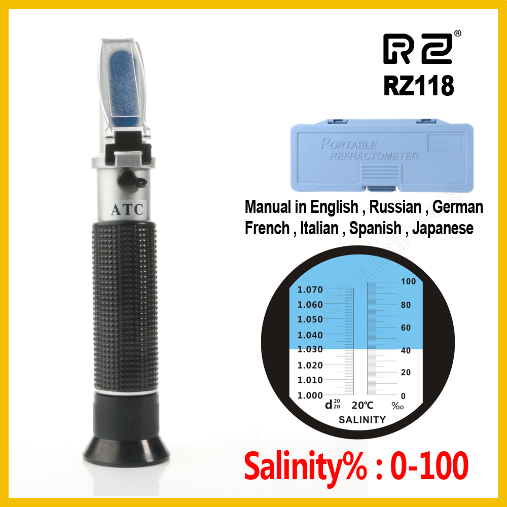 RZ refractometer Sea Salinity meter salt water concentration Aquarium Handheld Mariculture Breeding Gravimeter RZ118 0~10% useful convenient 3 models high low sos rotating focus led flashlight torch skid proof light lamp