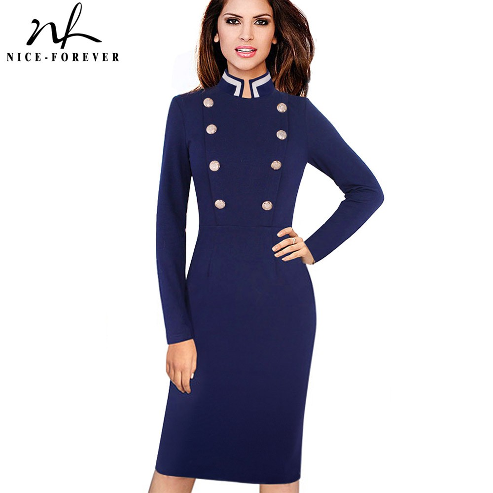 Nice-forever Vintage Long Sleeve Solid Color Stand Collar Double-Breasted Button vestidos Business Work Bodycon Women Dress B410