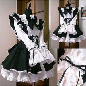 Женский наряд горничной аниме длинное платье Черный и белый фартук платье лолиты платья маскарадный костюм