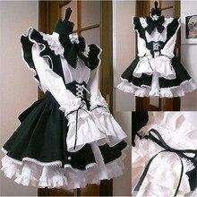 Donne costume Da Cameriera Anime Lungo Abito Bianco e Nero Grembiule Vestito Abiti Lolita Cosplay Costume