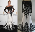 Actually Image Sexy Paris Hiton Long Gowns Appliques Red Carpet Formal Dress Long Sleeves O-neck Black White Celebrity Dresses