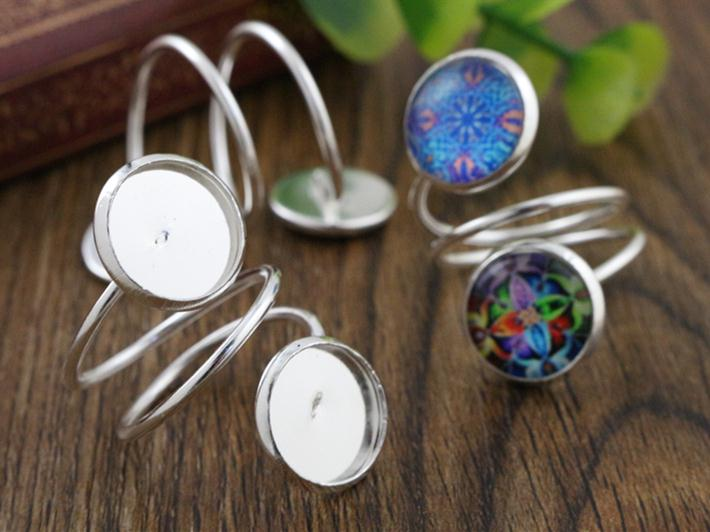 12mm 5pcs Light Silver  Plated Brass Adjustable Ring Settings Blank/Base,Fit 12mm Glass Cabochons,Buttons;Ring Bezels -J2-23