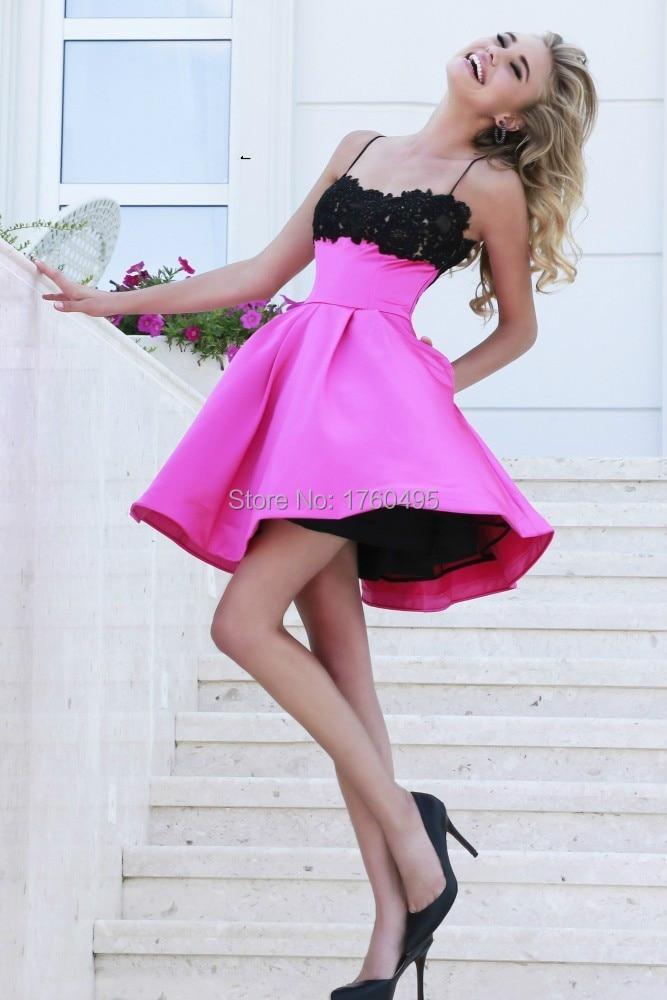 52e316803 Cute Lace Spaghetti Straps Short Homecoming Dress Black White 8th Grade  Junior Formal Graduation Dresses