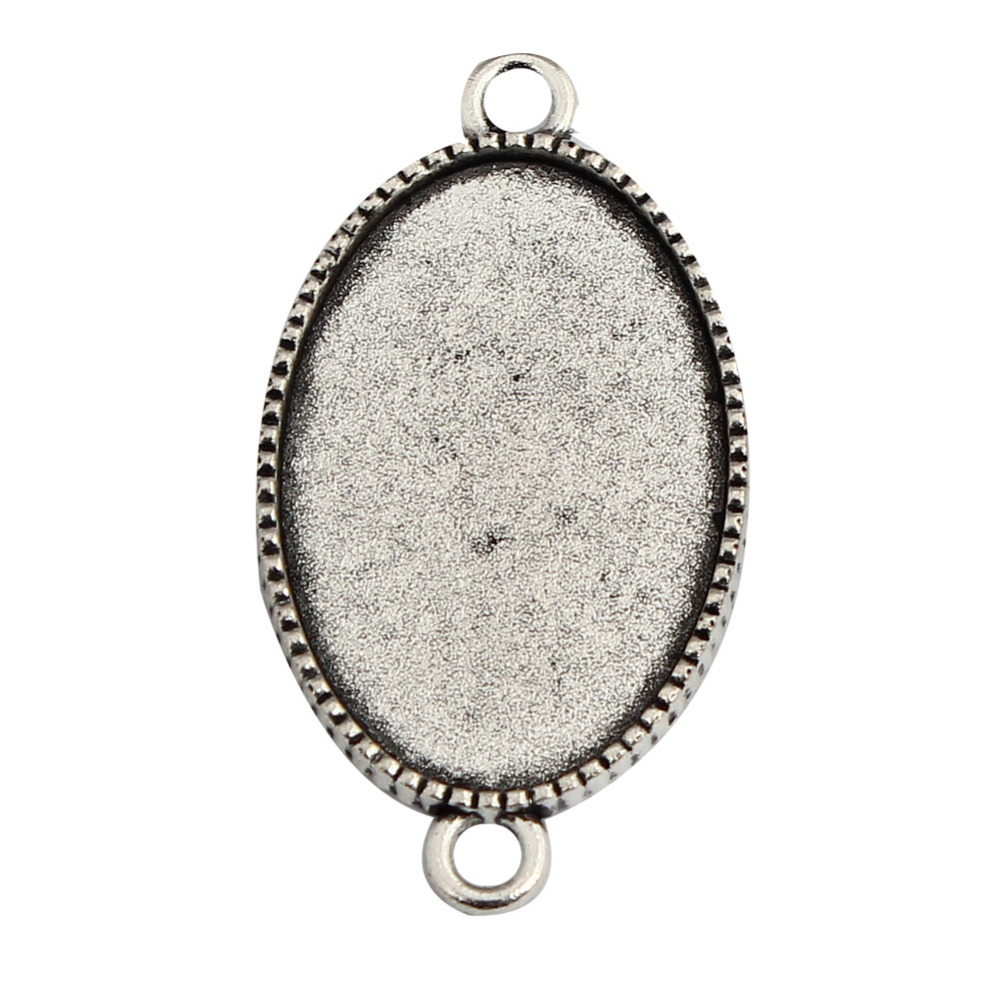 30pcs Outer Size 40x22.5mm Oval Antique Silver Cameo Cabochon Base Setting Inner 30x20mm Charm Pendant