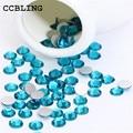 CCBLING Blue Zircon ss3-ss30 Nail Rhinestones Flat Back Non Hotfix Glitter Nail Stones,DIY 3d Nail Phones Decorations Supplies