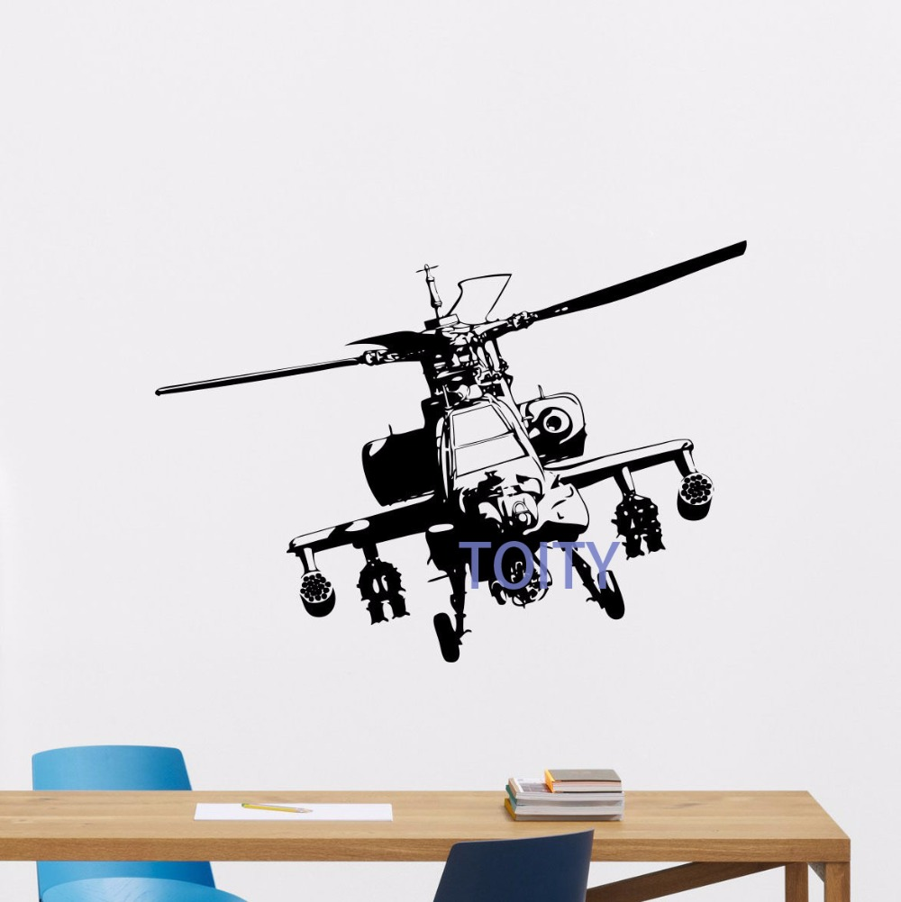 Apache Helicopter Wall Decal Nursery Poster Vinyl Sticker Art Garage Decor Mural H57cm x W76cm