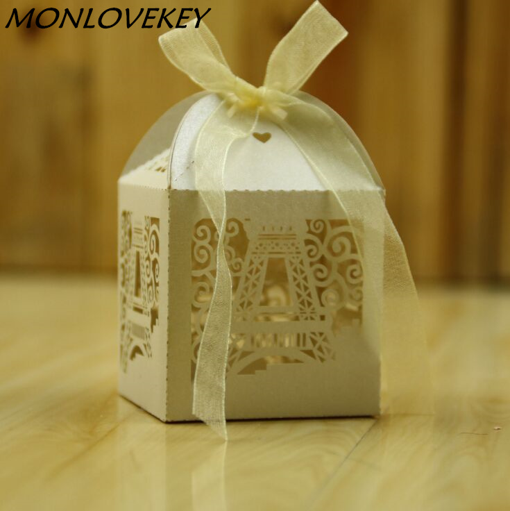 50pcs Eiffel Tower Design Laser Cutting Candy Box Chocolate Box