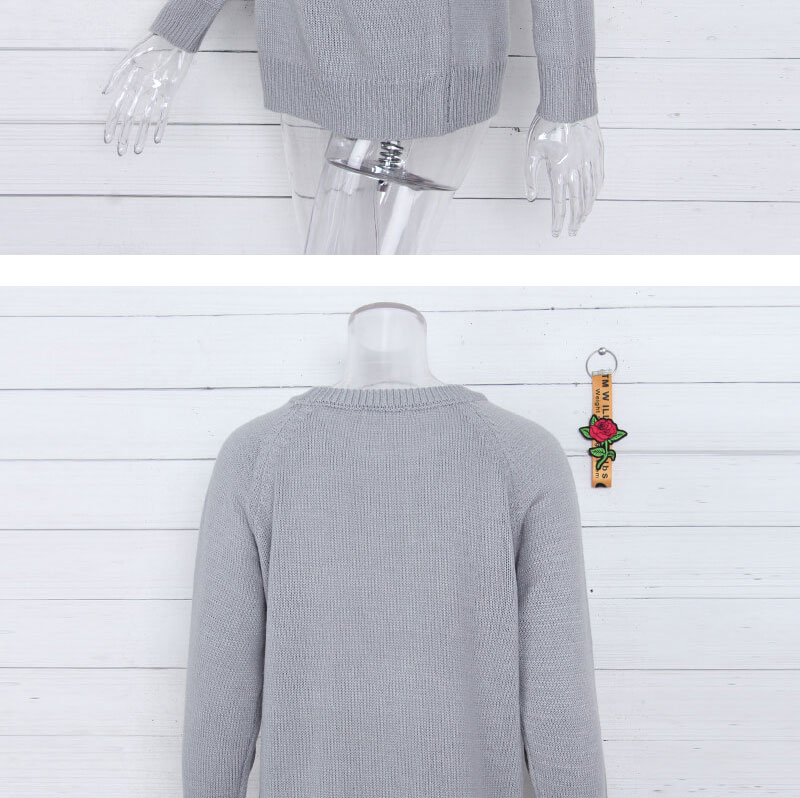 18 new winter white knitted sweater Women lantern sleeve loose gray pullover female Soft warm autumn casual love heart jumper 11
