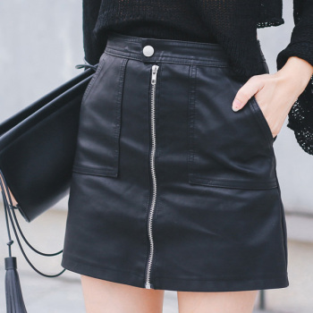 2019 Autumn Winter Women Skirt PU Leather Sexy Mini Skirt With Pockets Zipper A-line Package Hip High Waist Women Clothing 1