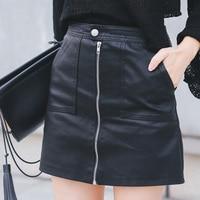 2019 осенне-зимняя женская юбка из искусственной кожи сексуальная мини-юбка с карманами на молнии трапециевидная упаковка бедра, высокая тал...