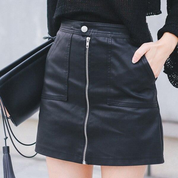 2019 Autumn Winter Women Skirt PU Leather Sexy Mini Skirt With Pockets Zipper A-line Package Hip High Waist Women Clothing
