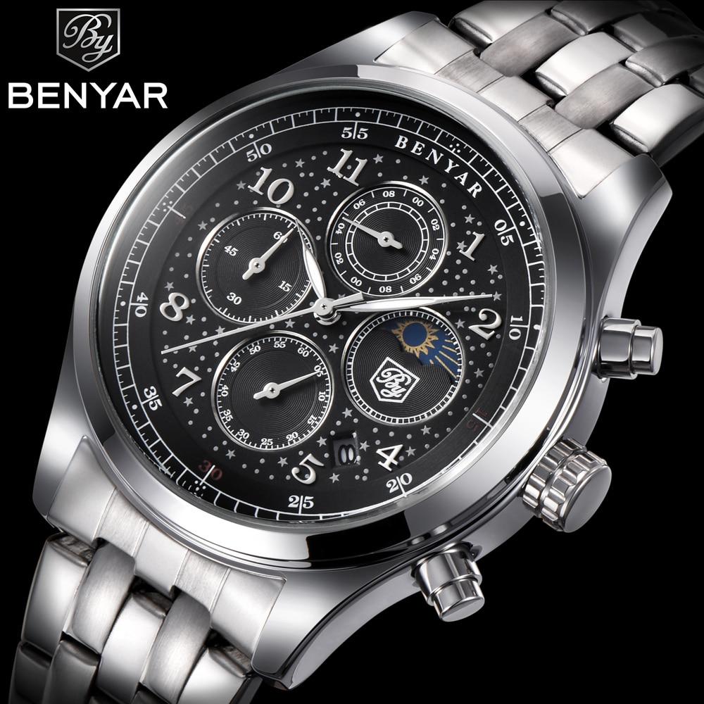 BENYAR Top Mens Watches Luxury Moon Phase Full Steel Quartz Chronograph Watch Sports Military Waterproof Wrist Watch Hour Clock benyar moon phase chronograph watch men