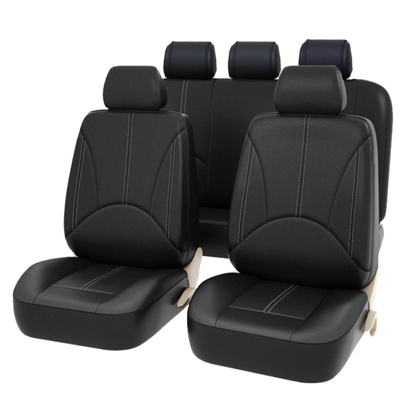 VORCOOL 9PCS/set PU Leather Universal Auto Car Seat Covers Automotive Anti Slip Seat Covers Protectors for Car SUV Truck