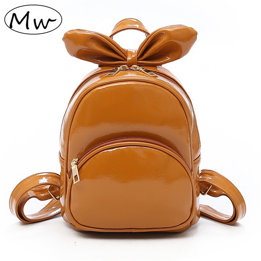 Moon Wood Hard PU Leather Mini Backpack For Girls Small Backpack Female Big  Bowknot Children Backpack Mochilas 2018 Summer New d308ed211f